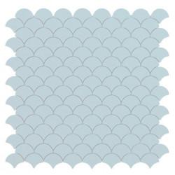 Mosaïque Soul écaille 3,6x2,9cm Light Blue (bleu pastel) mat sur trame nylon 32,4x31,7cm