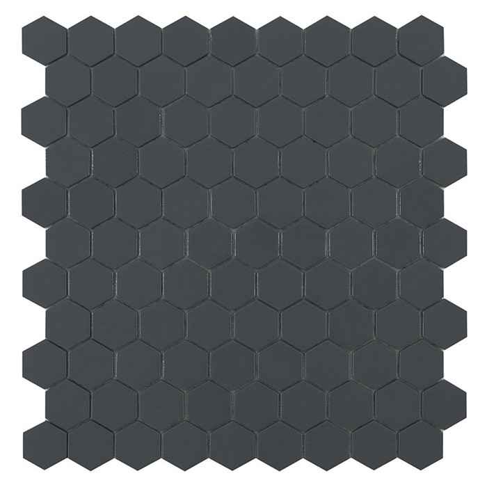 Mosaïque Nordic hexagone 3,5x3,5cm Dark Grey (noir) mat sur trame nylon 32,4x31,7cm ref 908