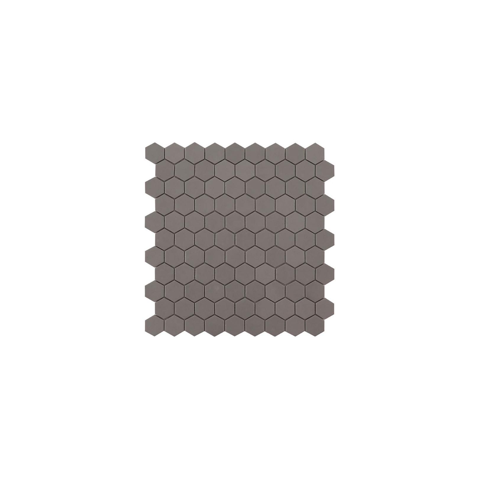Mosaïque Nordic hexagone 3,5x3,5cm Frappe (gris) mat sur trame nylon 32,4x31,7cm ref 926