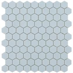 Mosaïque Nordic hexagone 3,5x3,5cm Light Blue (bleu pastel) mat sur trame nylon 32,4x31,7cm ref 926
