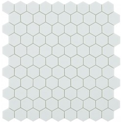 Mosaïque Nordic hexagone 3,5x3,5cm White (blanc) mat sur trame nylon 32,4x31,7cm ref 910