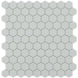Mosaïque Nordic hexagone 3,5x3,5cm Light Grey (gris clair) mat sur trame nylon 32,4x31,7cm ref 909