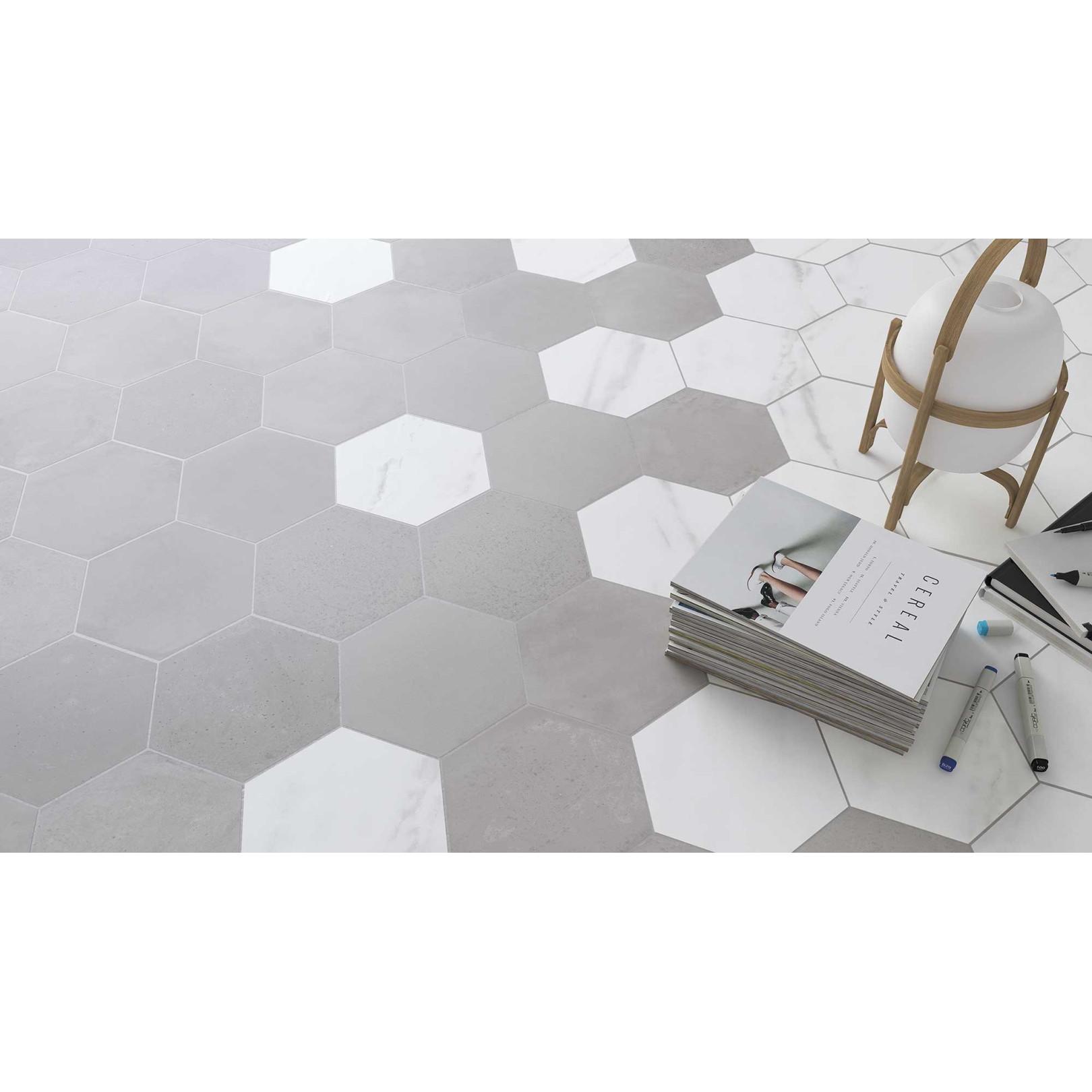 Carrelage grès cérame Love Affairs Concrete hexagone 20x23cm effet béton brut