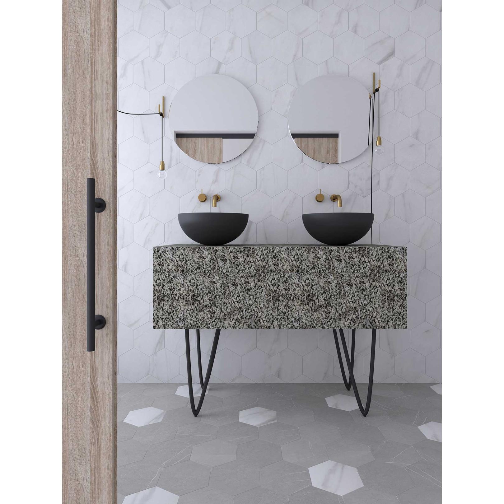 Carrelage grès cérame Love Affairs Petra Hexagone 20x23cm effet marbre