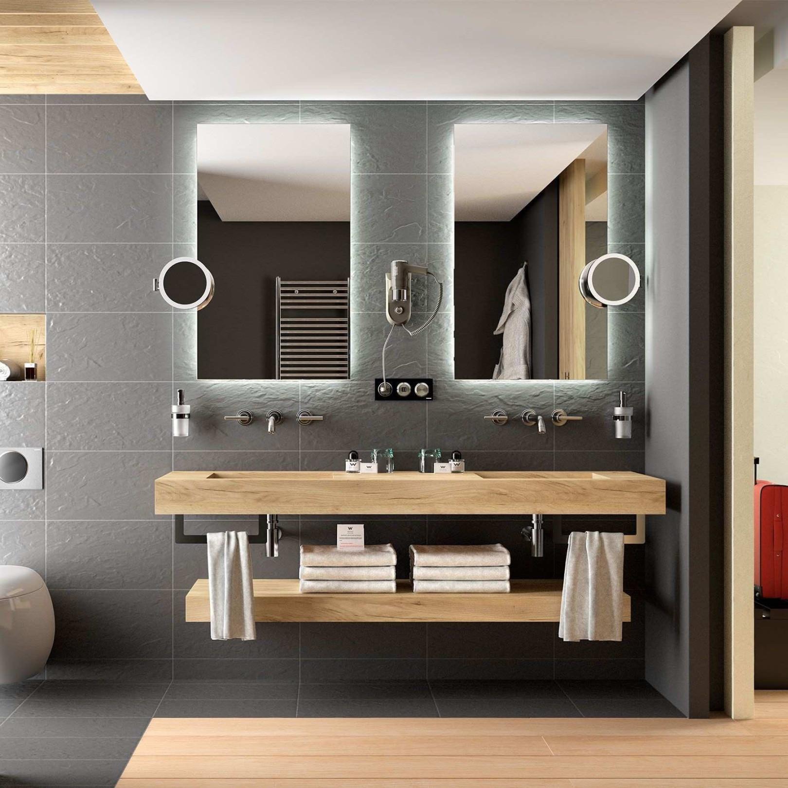 Plan double vasque intégrée Compakt Chêne Africain, sur mesures 121 à 250cm