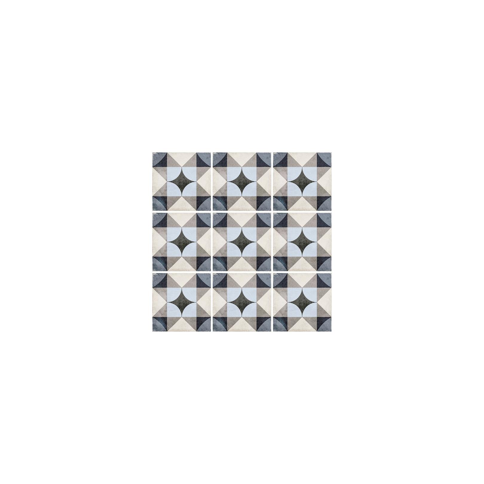 Carrelage grès cérame effet carreau ciment Art Nouveau Colour Palais Blue 20x20cm