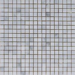 Mosaïque marbre Bianco Chinana, 1,5x1,5cm sur trame 29,6x29,6cm