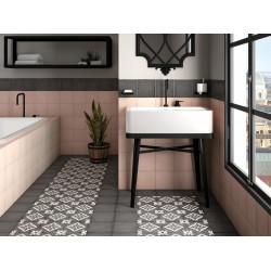 Carrelage grès cérame effet carreau ciment Art Nouveau Uni Anthracite 20x20cm