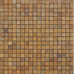 Mosaïque marbre Giallo Copper, 1,5x1,5cm sur trame 29,6x29,6cm