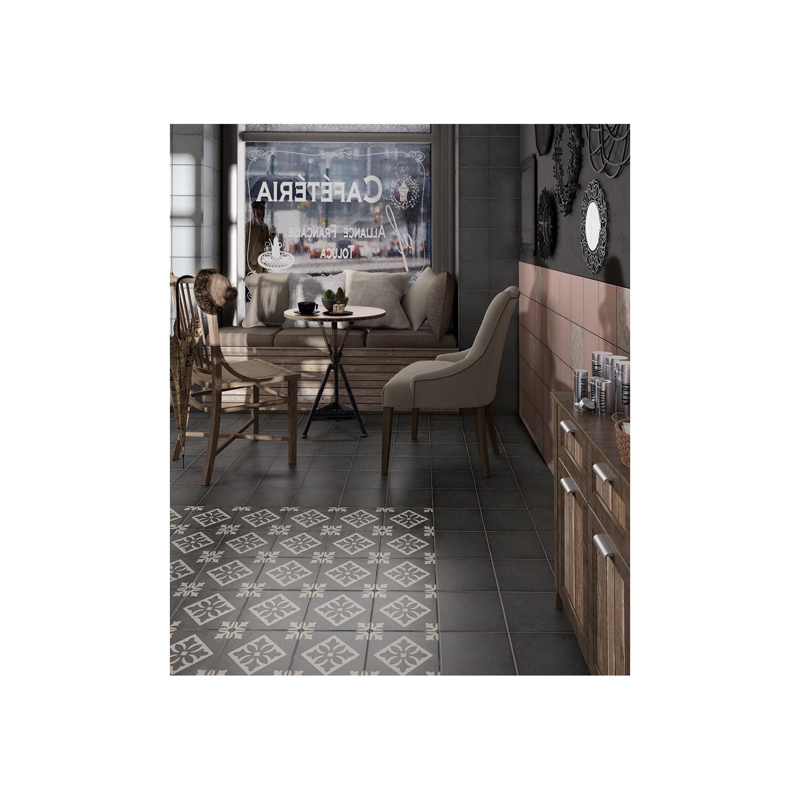 Carrelage grès cérame effet carreau ciment Art Nouveau Grey Padua 20x20cm