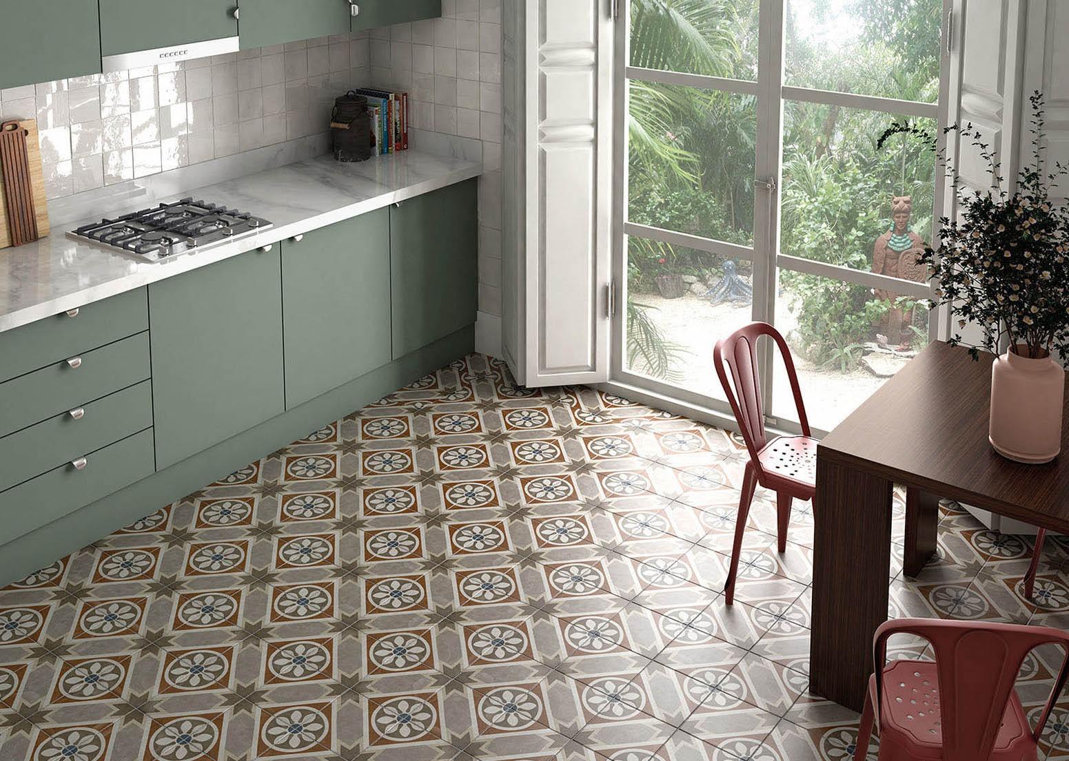 Carrelage grès cérame effet carreau ciment Art Nouveau Colour