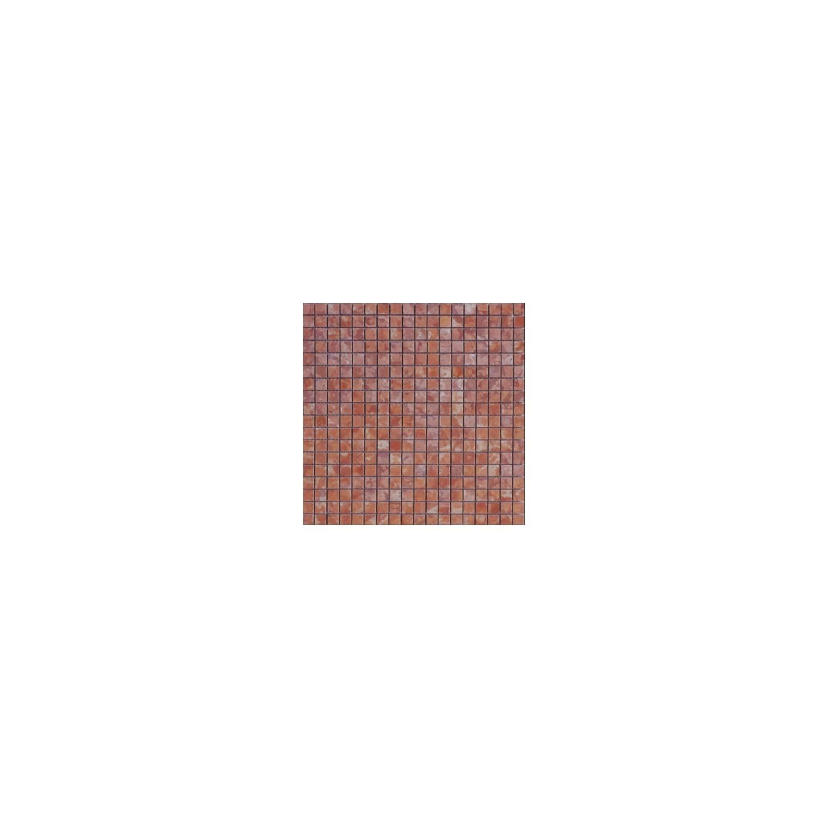 Mosaïque marbre Rosso Verona, 1,5x1,5cm sur trame 29,6x29,6cm