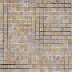 Mosaïque marbre Giallo Cream, 1,5x1,5cm sur trame 29,6x29,6cm