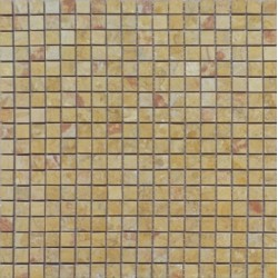 Mosaïque marbre Giallo Reale, 1,5x1,5cm sur trame 29,6x29,6cm