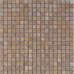Mosaïque travertin Noce, 1,5x1,5cm sur trame 29,6x29,6cm
