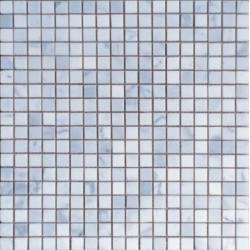 Mosaïque marbre Bianco Carrara, 1,5x1,5cm sur trame 29,6x29,6cm