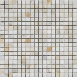Mosaïque marbre Calacatta, 1,5x1,5cm sur trame 29,6x29,6cm