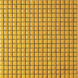 Mosaïque lave émaillée Giallo, 1,5x1,5cm sur trame 29,6x29,6cm