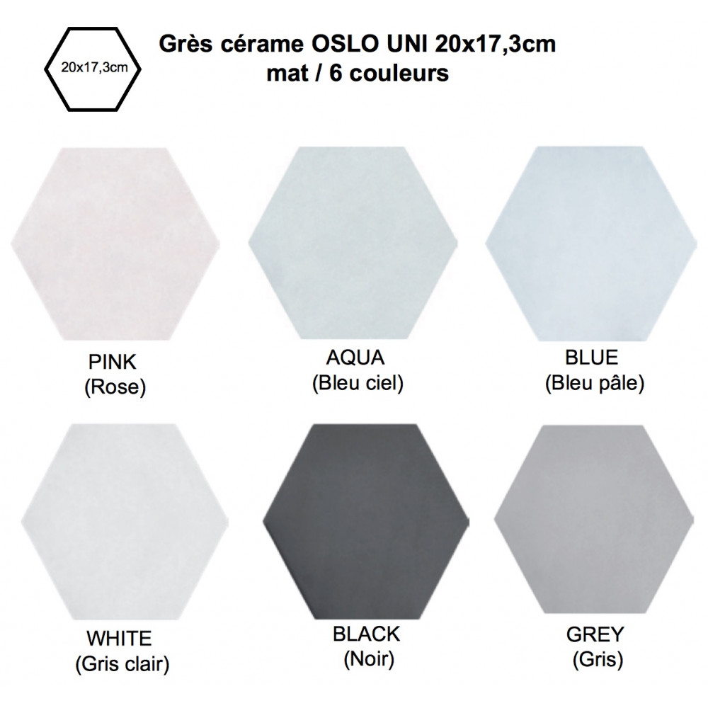 Carrelage grès cérame Oslo uni Hexagon, hexagone 20x17,3cm (6 couleurs)