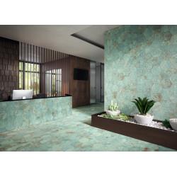Carrelage grès cérame effet métal Zinc Hexagone Green (2 formats)