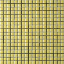 Mosaïque lave émaillée Giallo Light, 1,5x1,5cm sur trame 29,6x29,6cm