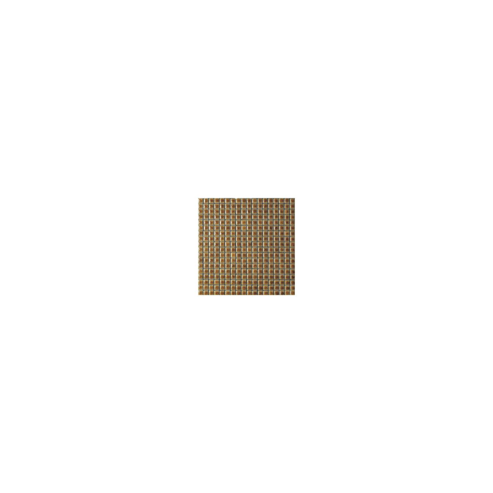 Mosaïque lave émaillée Giallo Dark, 1,5x1,5cm sur trame 29,6x29,6cm