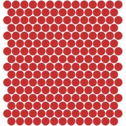 Mosaïque Unicolor ronde diamètre 2,3cm rouge 176 mat ou brillant ou antidérapant sur trame nylon 33,3x33,3cm
