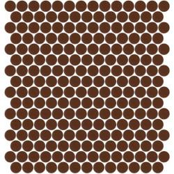 Mosaïque Unicolor ronde diamètre 2,3cm marron 210 mat ou brillant ou antidérapant sur trame nylon 33,3x33,3cm