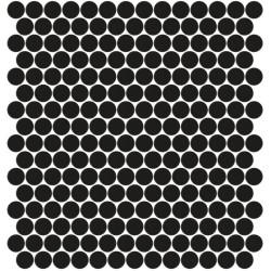 Mosaïque Unicolor ronde diamètre 2,3cm noir 101 mat ou brillant ou antidérapant sur trame nylon 33,3x33,3cm