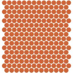 Mosaïque Unicolor ronde diamètre 2,3cm orange 304 mat ou brillant ou antidérapant sur trame nylon 33,3x33,3cm