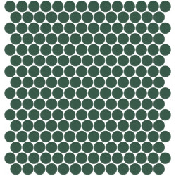 Mosaïque Unicolor ronde diamètre 2,3cm vert foncé 220 mat ou brillant ou antidérapant sur trame nylon 33,3x33,3cm