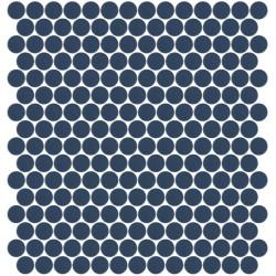 Mosaïque Unicolor ronde diamètre 2,3cm bleu foncé 319 mat ou brillant ou antidérapant sur trame nylon 33,3x33,3cm