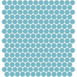 Mosaïque Unicolor ronde diamètre 2,3cm bleu piscine 335 mat ou brillant ou antidérapant sur trame nylon 33,3x33,3cm