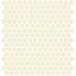 Mosaïque Unicolor ronde diamètre 2,3cm blanc cassé 330 mat ou brillant ou antidérapant sur trame nylon 33,3x33,3cm