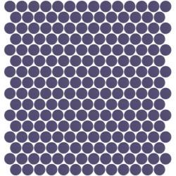 Mosaïque Unicolor ronde diamètre 2,3cm mauve 308 mat ou brillant ou antidérapant sur trame nylon 33,3x33,3cm