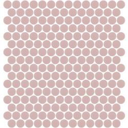 Mosaïque Unicolor ronde diamètre 2,3cm rose pastel 255 mat ou brillant ou antidérapant sur trame nylon 33,3x33,3cm