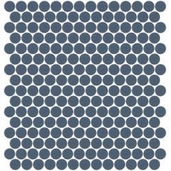 Mosaïque Unicolor ronde diamètre 2,3cm bleu militaire 318 mat ou brillant ou antidérapant sur trame nylon 33,3x33,3cm