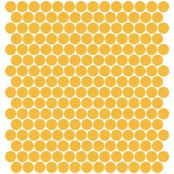 Mosaïque Unicolor ronde diamètre 2,3cm jaune 231 mat ou brillant ou antidérapant sur trame nylon 33,3x33,3cm