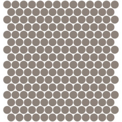 Mosaïque Unicolor ronde diamètre 2,3cm taupe 324 mat ou brillant ou antidérapant sur trame nylon 33,3x33,3cm