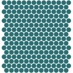 Mosaïque Unicolor ronde diamètre 2,3cm bleu canard 127 mat ou brillant ou antidérapant sur trame nylon 33,3x33,3cm