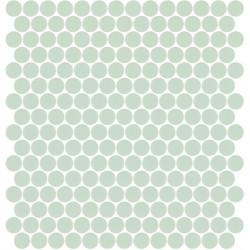 Mosaïque Unicolor ronde diamètre 2,3cm vert pastel 311 mat ou brillant ou antidérapant sur trame nylon 33,3x33,3cm