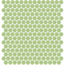 Mosaïque Unicolor ronde diamètre 2,3cm vert anis 115 mat ou brillant ou antidérapant sur trame nylon 33,3x33,3cm