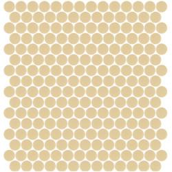 Mosaïque Unicolor ronde diamètre 2,3cm beige 173 mat ou brillant ou antidérapant sur trame nylon 33,3x33,3cm
