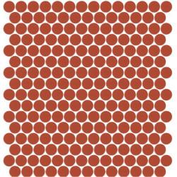 Mosaïque Unicolor ronde diamètre 2,3cm rouge orangé 172 mat ou brillant ou antidérapant sur trame nylon 33,3x33,3cm