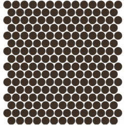 Mosaïque Unicolor ronde diamètre 2,3cm café 163 mat ou brillant ou antidérapant sur trame nylon 33,3x33,3cm