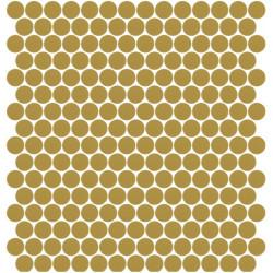 Mosaïque Unicolor ronde diamètre 2,3cm kaki clair 307mat ou brillant ou antidérapant sur trame nylon 33,3x33,3cm