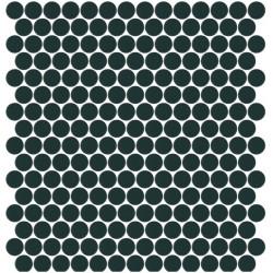 Mosaïque Unicolor ronde diamètre 2,3cm bleu nuit 313 mat ou brillant ou antidérapant sur trame nylon 33,3x33,3cm