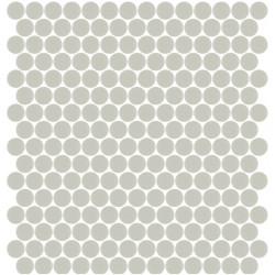 Mosaïque Unicolor ronde diamètre 2,3cm gris chaud 106 mat ou brillant ou antidérapant sur trame nylon 33,3x33,3cm