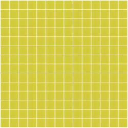 Mosaïque Unicolor 2,3x2,3cm vert jaune 301 mat ou brillant ou antidérapant sur trame nylon 33,3x33,3cm