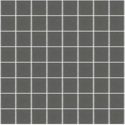 Mosaïque Unicolor carré 3,8x3,8cm gris foncé 260 mat ou brillant ou antidérapant sur trame nylon 32x32cm
